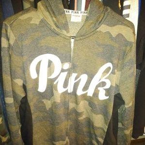 PINK Camo zip up hoodie